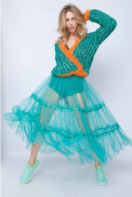 ELEGANCE GREEN TULLE SKIRT