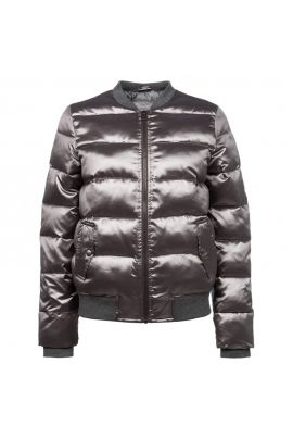 Yaya Metallic Look Short Bomber Jacket