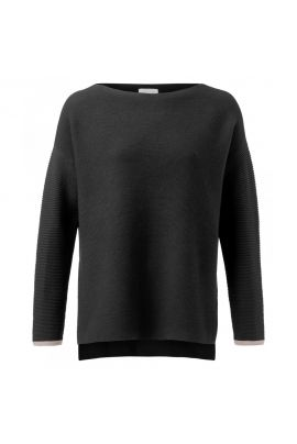 YAYA Cotton sweater with ribbed sleeves