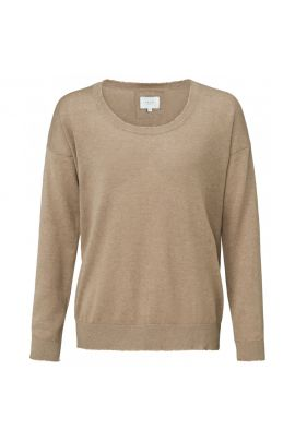 YAYA Cashmere blend knitted sweater with raw edges