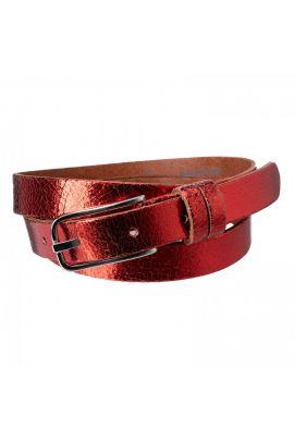 Yaya Metallic leather belt
