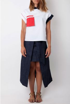 Cubic Denim Skirt