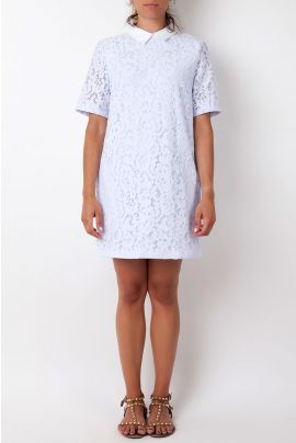 Cubic Lace T-Shirt Dress with White Collar