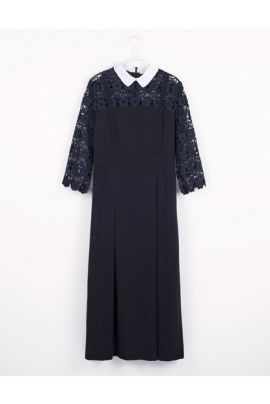 Cubic Midi Dress with Lace Sleeves