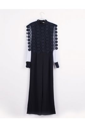 Cubic Jumpsuit with Long Sleeves and Lace Detail