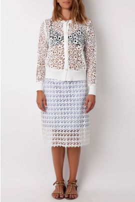Cubic Lasercut White Skirt