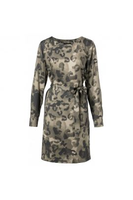 YAYA Belted dress with leopard print