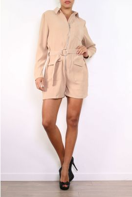 Daphnea Beige Playsuit with Long Sleeves, Waist Belt and Front Zip
