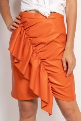Daphnea Faux Leather Orange skirt