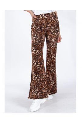 Daphnea High Flare Leopard Pants