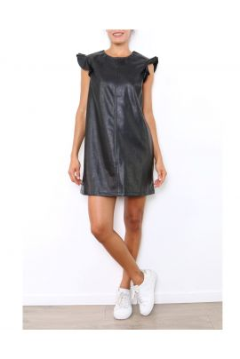 Daphnea Mini Faux Leather Dress