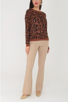 Daphnea Animal Printed Knitwear Blouse ( +colors )
