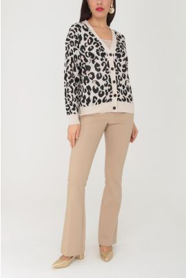 Daphnea Animal Printed Knitwear Jacket