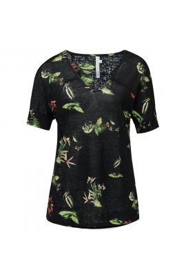 YAYA Linen V-neck T-shirt with wild animal flower print