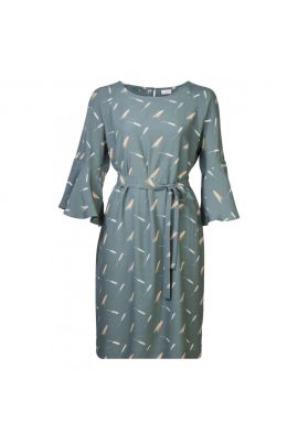 Floral Printed Woven Dress with Trompet Sleeve Yaya