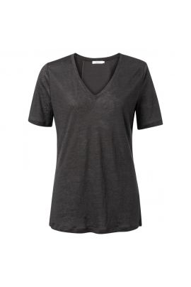 YAYA Linen V-neck T-shirt with shiny stripe on back