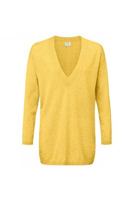 YAYA Fine knitted sweater with V-neck and stripe detail on back