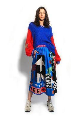 LOVER printed midi skirt
