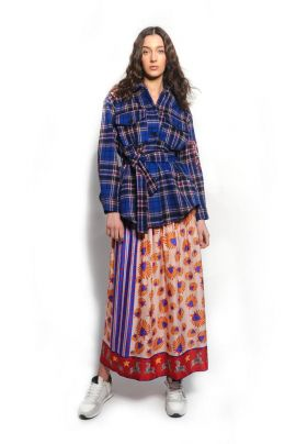 HEARTS printed midi skirt