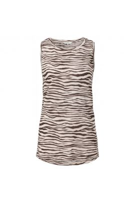 YAYA Sleeveless linen mix top with zebra print