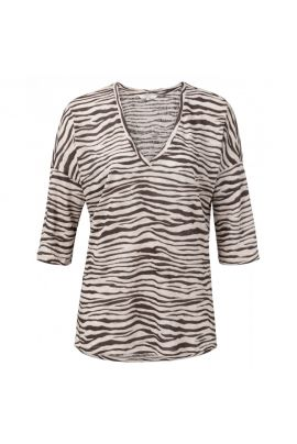 YAYA Linen V-neck top with 3/4 sleeves and zebra print